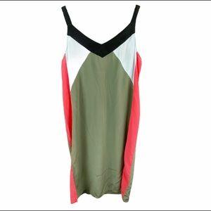 Equipment Silk Color Block Dress Large